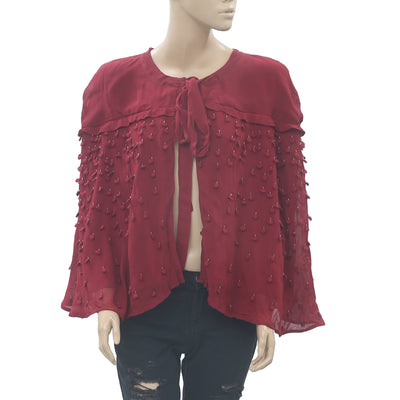Hoss Intropia Anthropologie Embroidered Beads Coverup Top Evening L NWT