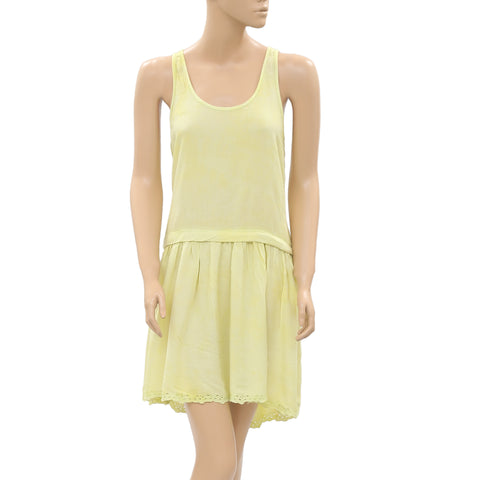 New Juicy Couture Eyelet Embroidered Pleats Cotton Lemon Mini Dress S