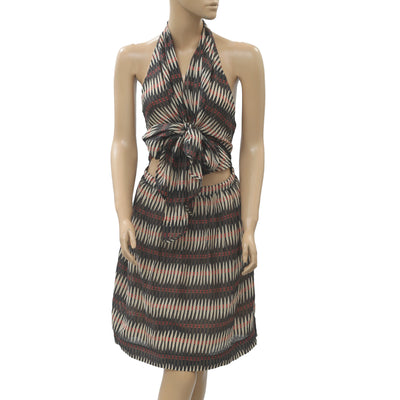 Hoss Intropia Anthropologie Printed Mini Dress Beach Halter Backless XS