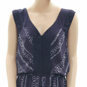 Ecote Urban Outfitters Printed Navy Romper Dress M