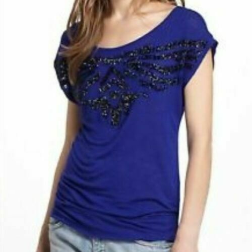 Ric Rac Anthropologie Bead Embellished Embroidered Blue Blouse Top S New
