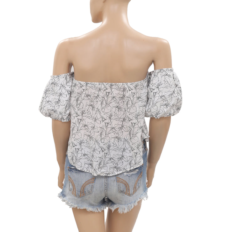 Free People Printed Off Shoulder Crop Summer Blouse Top XS New