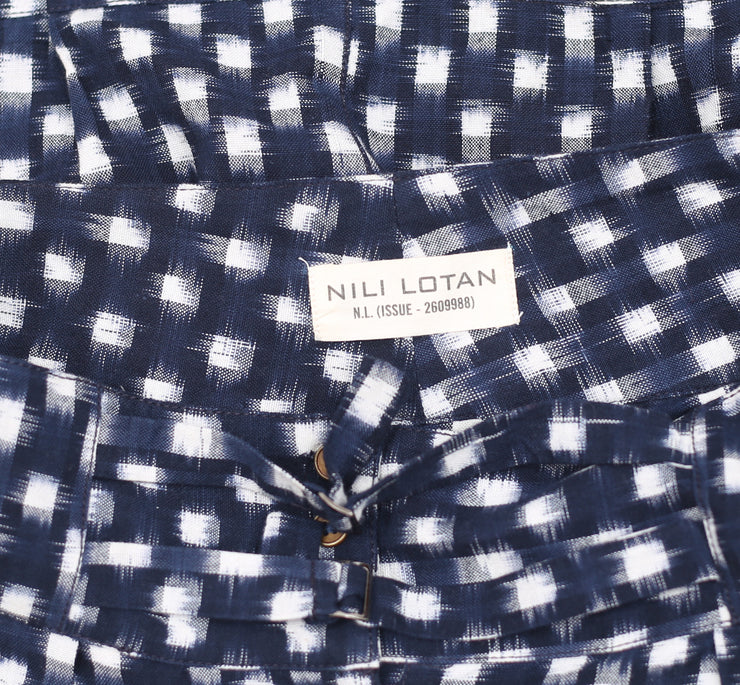 Nili Lotan Plaid & Check Buttoned Pocket Blue Skirt M
