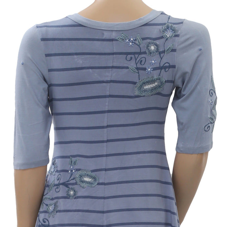 Caite Striped Printed Floral Embroidered Tunic Top Asymmetrical Blue S