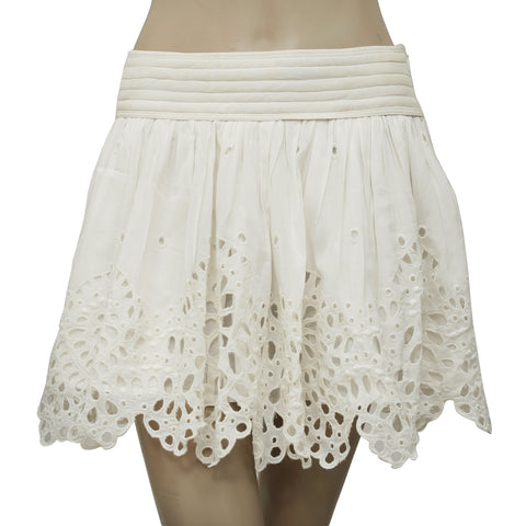Isabel Marant Etoile Embroidered Ivory Mini Skirt S