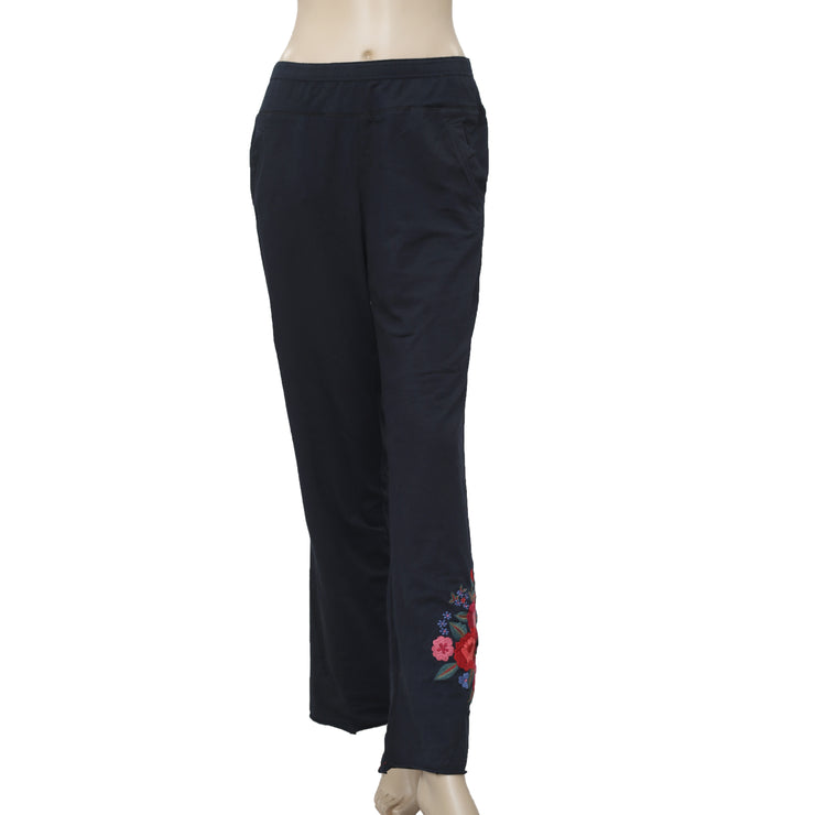 Caite Floral Embroidered Pocket Navy Pant M