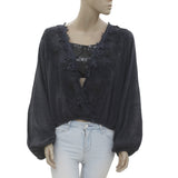 New Free People Embroidered Cotton Summer Navy Crop Blouse Top L