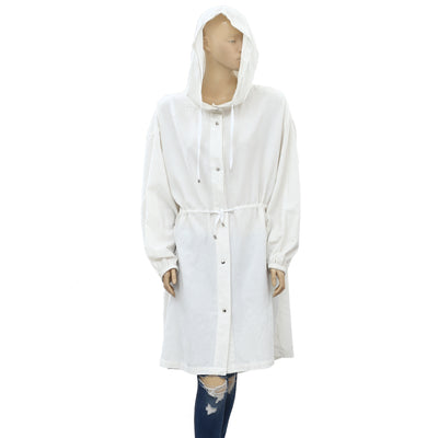 Free People Solid Cotton Hoodie Tunic Jacket Top M