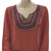 Lucky Brand Bead Embellished Blouse Top Rust Boho Holiday Vintage L NEW