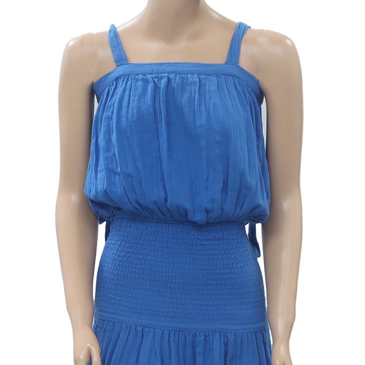 Rhode Resort Micah Shirred Blue Midi Dress Smocked Tiered Cotton XS NWT