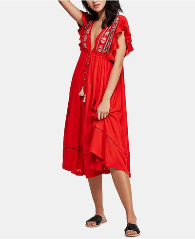 Copy of $168 NEW Free People Ruffle Floral Embroidered Flutter Sleeve Dress S