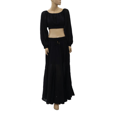 Free People Cleo Surplice Crop Top & Maxi Skirt Set S