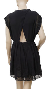 IRO Dajana Flowing Fringed Cutout Black Tunic Dress S 36