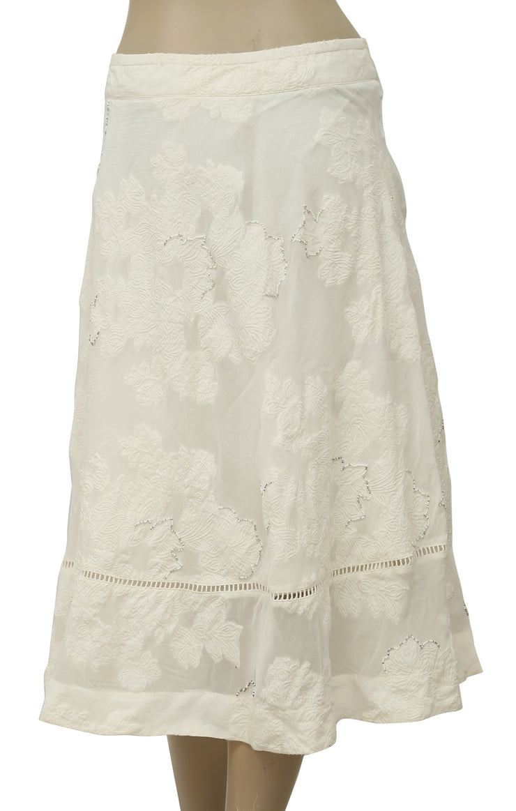 Soft Surroundings Floral Embellished Ivory Skirt Plus Size 1X