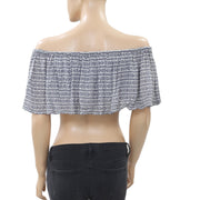 Mara Hoffman Printed Off Shoulder Crop Top Ruffle  XS