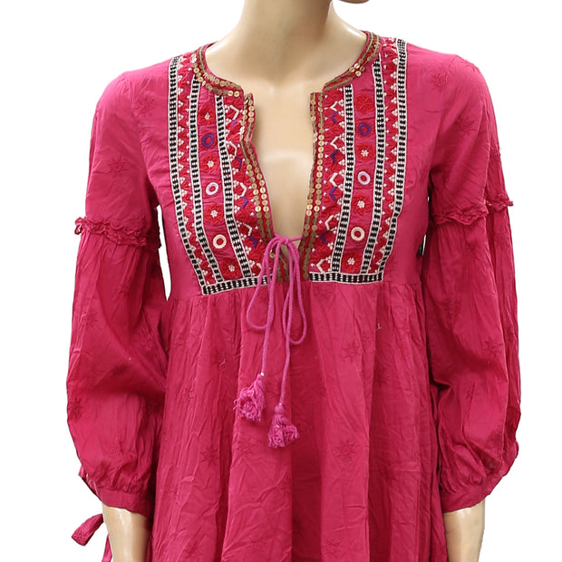 Odd Molly Anthropologie Embroidered Coin Mini Dress S 1