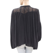 Denim & Supply Ralph Lauren Lace Black Blouse Top M