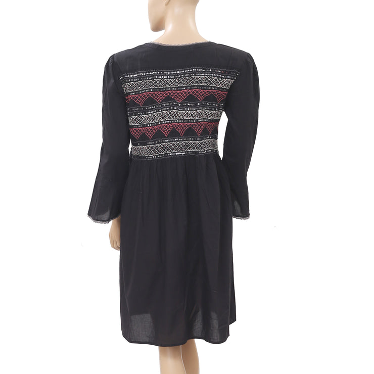 Odd Molly Anthropologie Remix Embroidered Embellished Mini Dress L