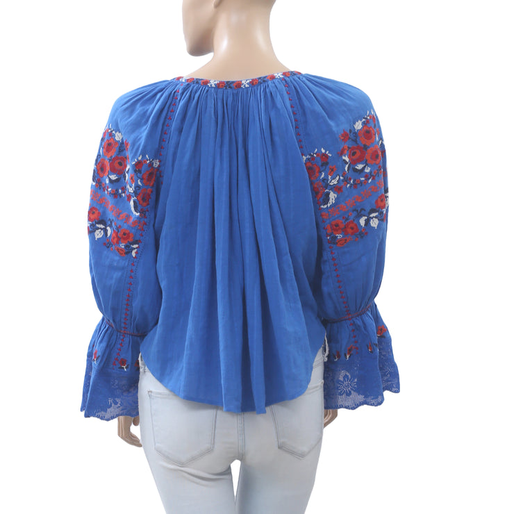 Ulla Johnson Devra Embroidered Blouse Top Floral Lace Blue Boho L