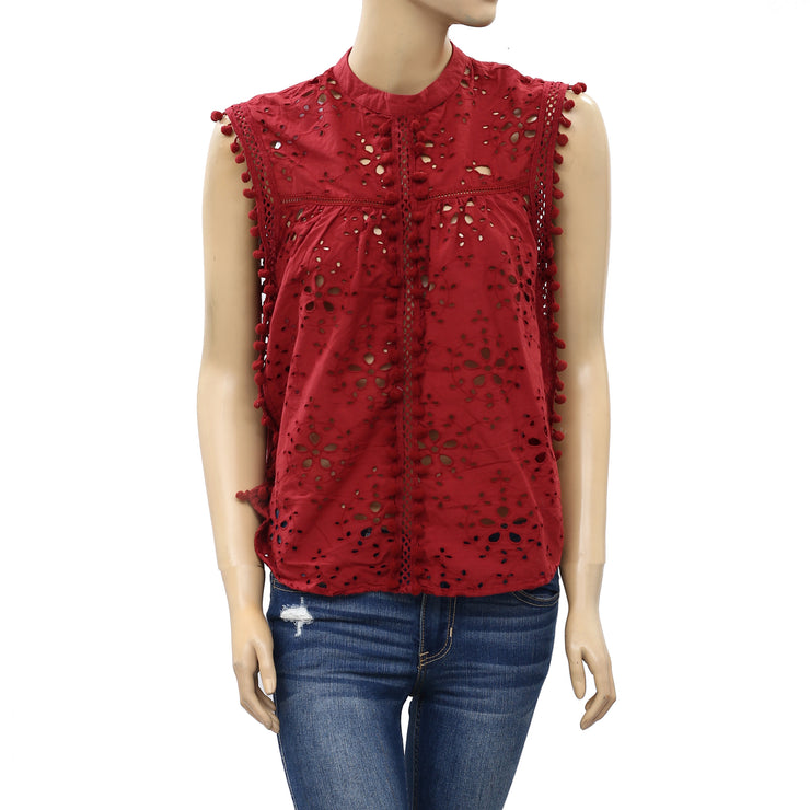 Zara Trafaluc Eyelet Embroidered With Pom Pom Blouse Top S