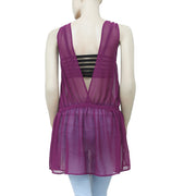Free People Embellished Purple Sheer Tunic Top L