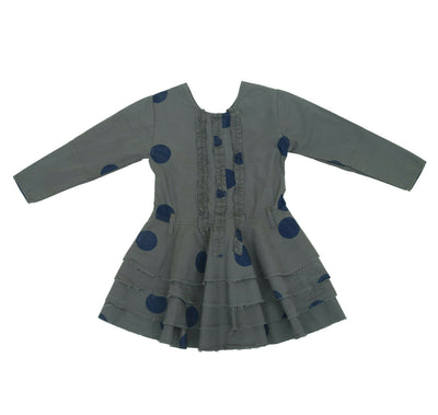 Ewa I Walla Girls Kids Printed Ruffle Cotton Gray Dress 4 year