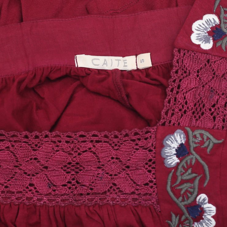 Caite Anthropologie Floral Embroidered Tunic Top Lace Boho Maroon S