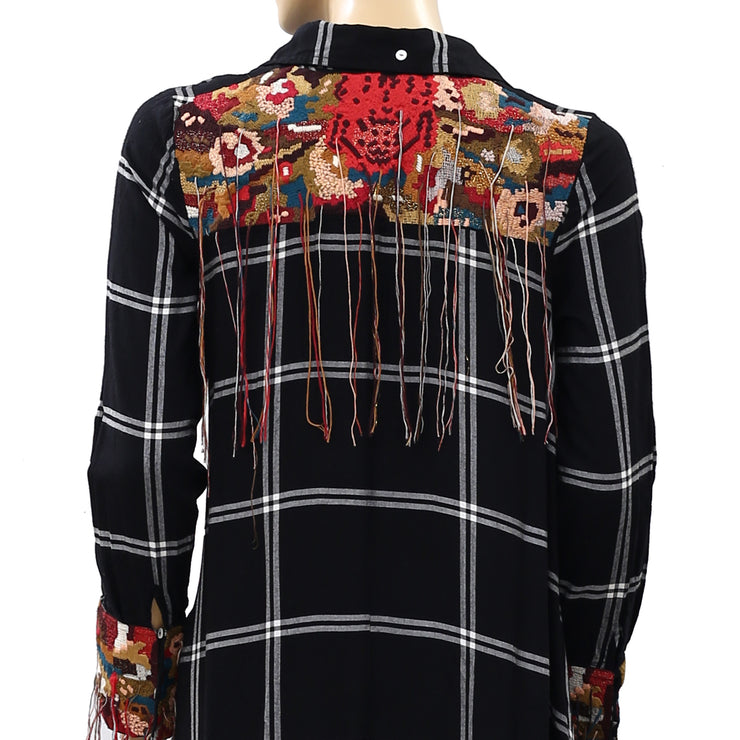 Free People Floral Embroidered Buttondown Tunic Top S