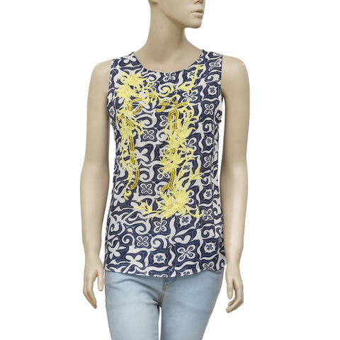 Lilly Pulitzer Printed Embroidered Beaded Embellished Blouse Top XS