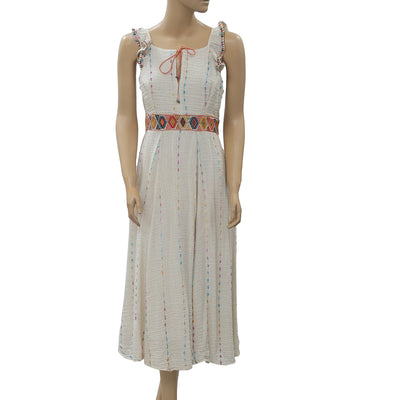 Free People Embroidered Midi Dress XS
