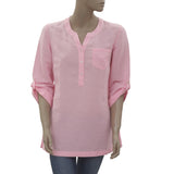 New Lilly Pulitzer Boho Split Neck Button Pink Tunic Top Small S