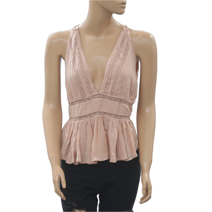 Free People Hold On Tight Lace Peach Tank Blouse Top Boho Summer M