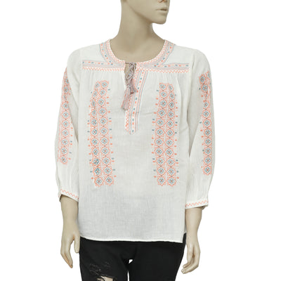Joie Tsoline Embroidered Round Neck Ivory Casual Blouse Top Medium M