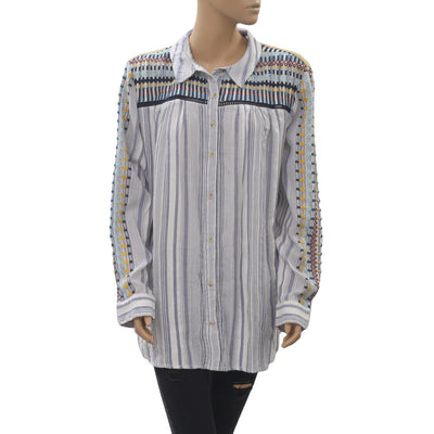 Anthropologie Embroidered Tunic Shirt Top