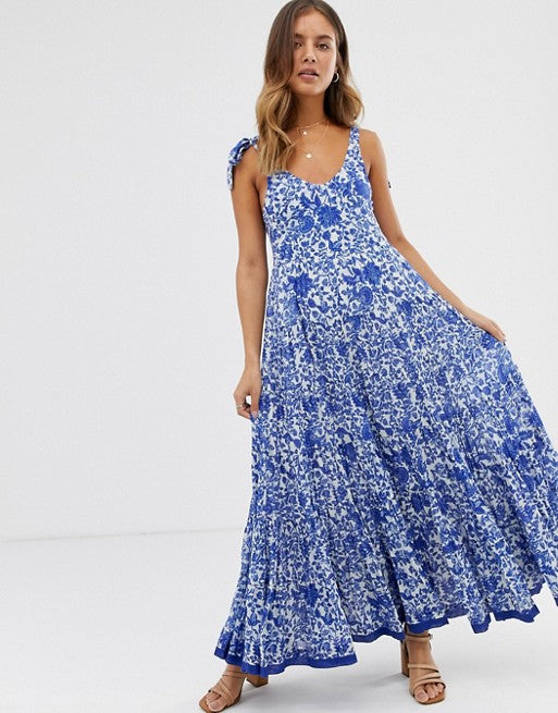 Free People Kika's Printed Maxi Dress Floral Tiered Evening Cotton M New