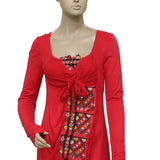 Free People Embroidered Mirror Embellished Red Dress XS