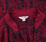 Lucky Brand Printed Pintuck Maroon Sheer Shirt Blouse Top Small S