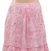 New Lilly Pulitzer Floral Printed Pintuck Ruffle Pocket Pink Midi Skirt S