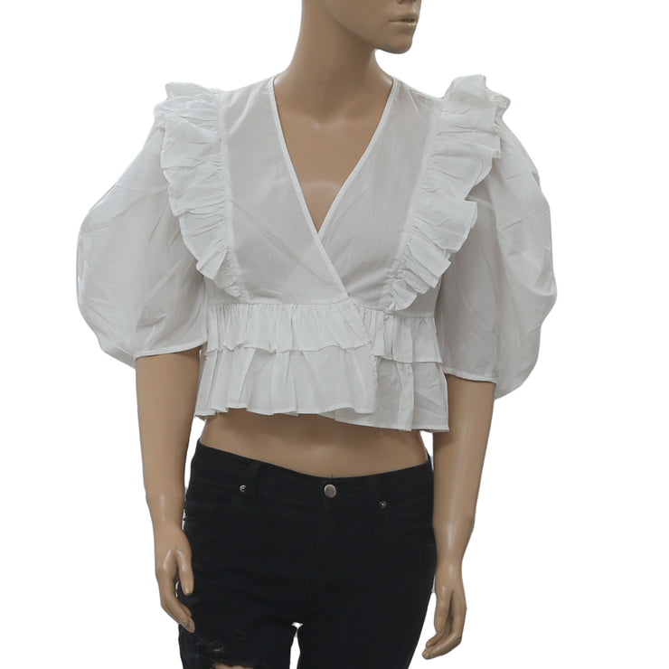 RHODE RESORT Elodie Cotton-Voile Blouse Top Ruffle White Boho XS