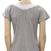 Lucky Brand Crochet Lace Striped Blouse Top S