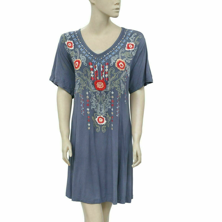 Caite Anthropologie Embroidered Gray Tunic Dress PS