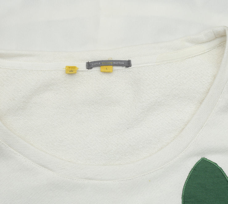Little Yellow Button By Camellia Jumper White Top L