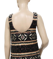 Free People Sequin Tank Mini Sleeveless Black Party Dress Small S