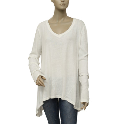 Free People V neck Long Sleeve High & low Ivory Tunic Top  L