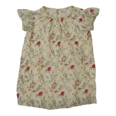 Bonpoint Kids Girls Floral Printed Blouse Top Lace Beige Boho 6 Year