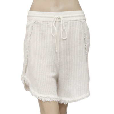 Free People Striped Pattern Draw String Ivory Shorts M