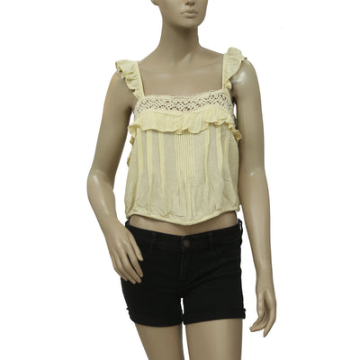 Free People Prairie Crochet Lace Ruffle Yellow Top S