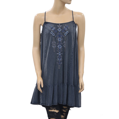 Free People Gray Embroidered Tunic Top XS