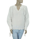 Berenice Eyelet Embroidered Lace Ivory Casual Blouse Top Medium M
