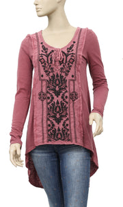Free People Hi-lo Embroidered Tunic Top S